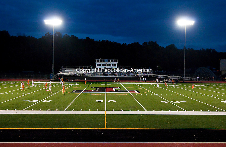 TORRINGTON, CT-100714JS12-Torrington girls soccer hosted Watertown for the first game played in the new $2.9 million Robert H. Frost sports complex at Torrington High School on Tuesday. <br /> Jim Shannon Republican-American