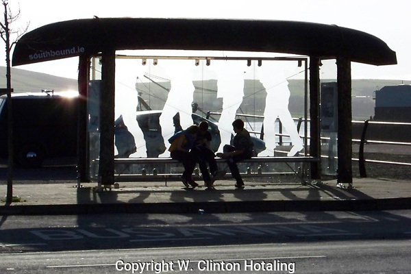 The play of shadows in front of a bus stop in Dingle, Ireland, are just fun!