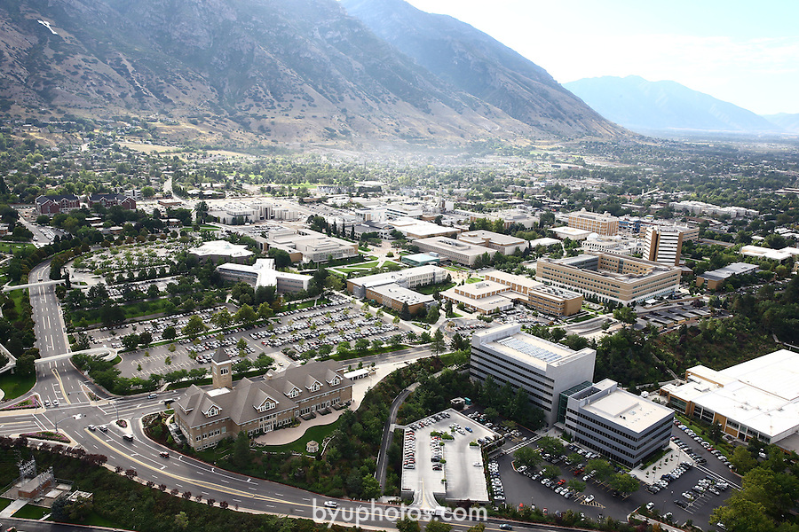 1309-22 0275<br /> <br /> 1309-22 BYU Campus Aerials<br /> <br /> Brigham Young University Campus West looking East, Provo, Sunrise, Y Mountain,  Hinckley Alumni and Visitors Center HC, Tanner Building TNRB, Abraham Smoot Building ASB, Jesse Knight Building JKB, Talmage Building TMCB,  <br /> <br /> September 6, 2013<br /> <br /> Photo by Jaren Wilkey/BYU<br /> <br /> © BYU PHOTO 2013<br /> All Rights Reserved<br /> photo@byu.edu  (801)422-7322