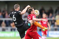 Michael Nelson of Barnet and Scott Vernon of Grimsby Town during the Sky Bet League 2 match between Barnet and Grimsby Town at The Hive, London, England on 29 April 2017. Photo by David Horn.