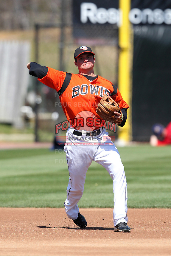 Bowie BaySox third baseman Buck Britton #5 during practice before a game against the Harrisburg Senators at Prince George's Stadium on April 8, 2012 in Bowie, Maryland.  Harrisburg defeated Bowie 5-2.  (Mike Janes/Four Seam Images)