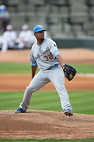 Myrtle Beach Pelicans starting pitcher Duane Underwood Jr. (32) in action against the Winston-Salem Dash at BB&T Ballpark on April 18, 2015 in Winston-Salem, North Carolina.  The Pelicans defeated the Dash 4-1 in game one of a double-header.  (Brian Westerholt/Four Seam Images)