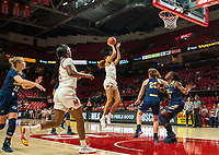 COLLEGE PARK, MD - NOVEMBER 20: Shakira Austin #1 of Maryland goes up for a shot during a game between George Washington University and University of Maryland at Xfinity Center on November 20, 2019 in College Park, Maryland.