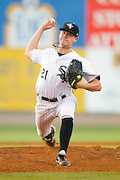 Relief pitcher Ethan Icard #21 of the Bristol White Sox in action against the Greeneville Astros at Boyce Cox Field July 2, 2010, in Bristol, Tennessee.  Photo by Brian Westerholt / Four Seam Images