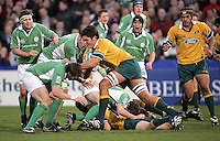 Australian second row Rob Simons is tackled by Irish skipper Paul Ryan during the Division A U19 World Championship clash at Ravenhill.