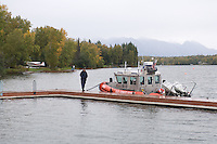 Coastguard patrolling the water near Sarah Palin's home on Lake Lucille in Wasilla, Alaska.