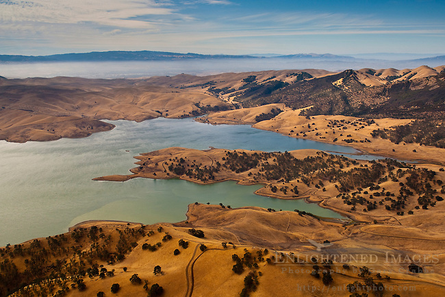 Aerial over the Los Vaqueros Reservoir, Contra Costa County, California