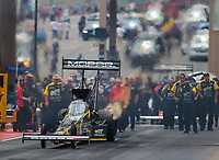 Jul 22, 2018; Morrison, CO, USA; NHRA top fuel driver Leah Pritchett during qualifying for the Mile High Nationals at Bandimere Speedway. Mandatory Credit: Mark J. Rebilas-USA TODAY Sports