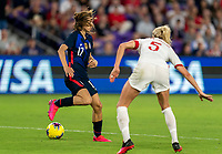 ORLANDO, FL - MARCH 05: Tobin Heath #17 of the United States back heels the ball during a game between England and USWNT at Exploria Stadium on March 05, 2020 in Orlando, Florida.