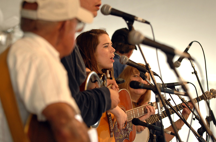 The White Mountain Top Band performs in the Roots of Virginia section at the Smithsonian Folklife Festival.