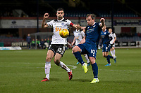 10th March 2020; Dens Park, Dundee, Scotland; Scottish Championship Football, Dundee FC versus Ayr United; Paul McGowan of Dundee challenges  Steven Bell of Ayr United