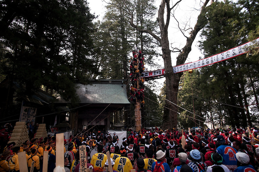 Detail of the Tateonbashira, or the standing of the pillars, during the Onbashira festival, where 16 sacred pillars are brought by hand to rejuvenate each the upper and lower Suwa Shrines in Nagano Prefecture.