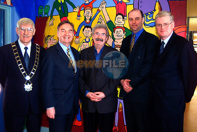 Mayor Jimmy Mulroy, Dr Michael Woods Minister for Education,Teddy Doyle Artist, John Foley from Drogheda Concentration,and Cllr Frank Maher at St Itas School...Pic Tony Campbell/Newsfile