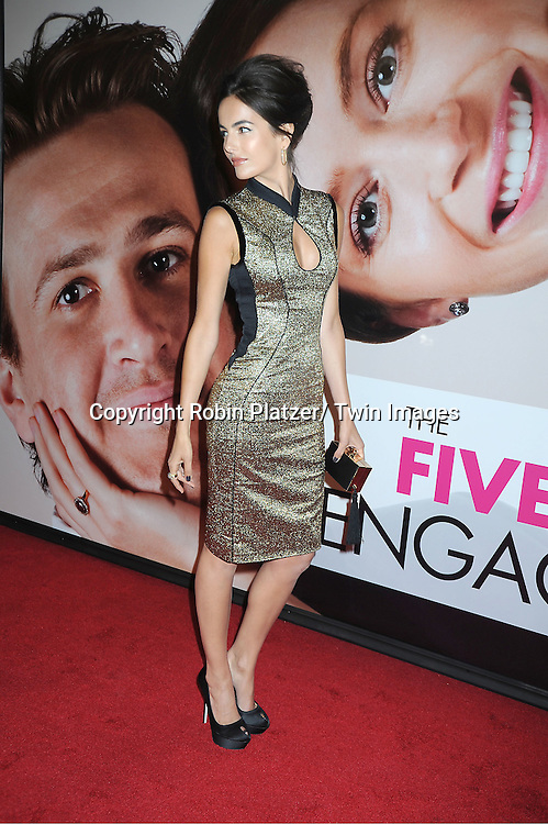 "Camilla Belle in Jason Wu gold dress arrives to The World Premiere of "" The Five-Year Engagement"" at the opening night of The Tribeca Film Festival at the Ziegfeld Theatre in New York City on .April 18, 2012."