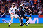 Gonzalo Higuain of Argentina (R) fights for the ball with Gerard Pique of Spain (L) during the International Friendly 2018 match between Spain and Argentina at Wanda Metropolitano Stadium on 27 March 2018 in Madrid, Spain. Photo by Diego Souto / Power Sport Images