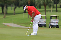 Kiradech Aphibarnrat (Asia) on the 1st green during the Singles Matches of the Eurasia Cup at Glenmarie Golf and Country Club on the Sunday 14th January 2018.<br /> Picture:  Thos Caffrey / www.golffile.ie