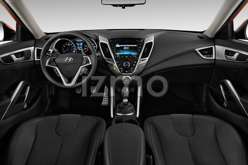 Stock photo of straight dashboard view of 2017 Hyundai Veloster Manual 5 Door Hatchback Dashboard