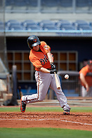 Baltimore Orioles Cadyn Grenier (54) hits a sacrifice fly during a Florida Instructional League game against the Tampa Bay Rays on October 1, 2018 at the Charlotte Sports Park in Port Charlotte, Florida.  (Mike Janes/Four Seam Images)