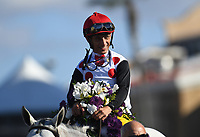 DEL MAR, CA - NOVEMBER 04: John Velazquez, aboard World Approval #5, takes in the scene after winning the Breeders' Cup Mile race on Day 2 of the 2017 Breeders' Cup World Championships at Del Mar Racing Club on November 4, 2017 in Del Mar, California. (Photo by Jamey Price/Eclipse Sportswire/Breeders Cup)