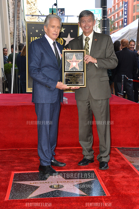 LOS ANGELES, CA. November 06, 2018: Michael Douglas &amp; Leron Gubler at the Hollywood Walk of Fame Star Ceremony honoring actor Michael Douglas.<br /> Pictures: Paul Smith/Featureflash