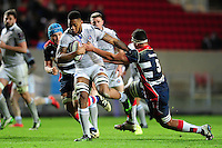 Levi Douglas of Bath Rugby takes on the Bristol Rugby defence. European Rugby Challenge Cup match, between Bristol Rugby and Bath Rugby on January 13, 2017 at Ashton Gate Stadium in Bristol, England. Photo by: Patrick Khachfe / Onside Images