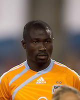 Houston Dynamo midfielder Anthony Obodai (35). The New England Revolution defeated Houston Dynamo, 1-0, at Gillette Stadium on August 14, 2010.
