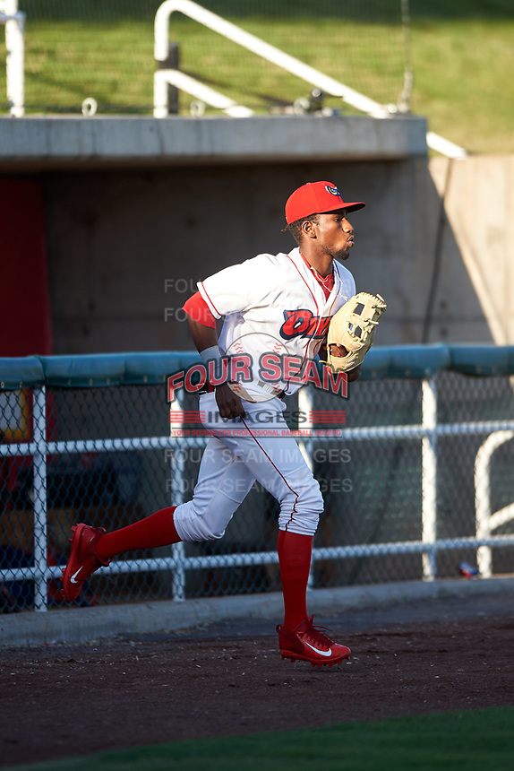Orem Owlz second baseman Jose Quezada (1) jogs onto the field before a Pioneer League game against the Idaho Falls Chukars at The Home of the OWLZ on August 13, 2019 in Orem, Utah. Orem defeated Idaho Falls 3-1. (Zachary Lucy/Four Seam Images)