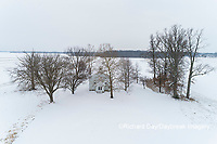 63895-16815 Pleasant Grove Methodist Church in snow-winter-aerial-Marion Co. IL