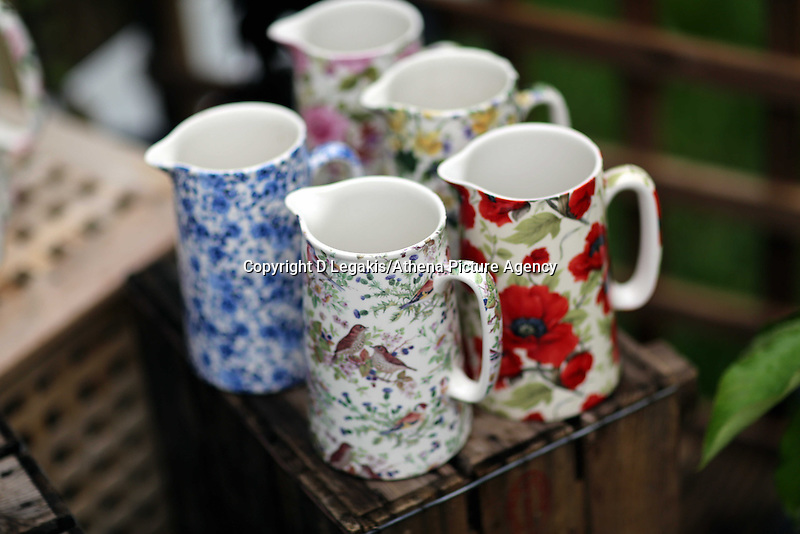 Wednesday 28 May 2014, Hay on Wye, UK<br /> Pictured: Pottrery in the festival shop.<br /> Re: The Hay Festival, Hay on Wye, Powys, Wales UK.