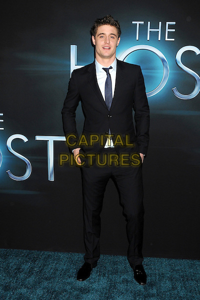 "Max Irons.""The Host"" Los Angeles Premiere held at the Cinerama Dome, Hollywood, California, USA..March 19th, 2013.full length black suit blue shirt.CAP/ADM/BP.©Byron Purvis/AdMedia/Capital Pictures."