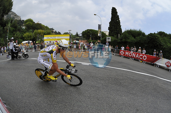 Team Columbia High Road rider Tony Martin (GER) exits the hairpin during the Prologue Stage 1 of the 2009 Tour de France a 15.5km individual time trial held around Monaco. 4th July 2009 (Photo by Eoin Clarke/NEWSFILE)