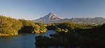 Lake Mangamahoe in foreground. Mount Taranaki (Egmont) in background. Taranaki Region. New Zealand.