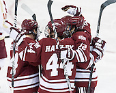 T.J. Syner (UMass - 14), Joel Hanley (UMass - 44), Michael Marcou (UMass - 22) - The Boston College Eagles defeated the University of Massachusetts-Amherst Minutemen 3-2 to take their Hockey East Quarterfinal matchup in two games on Saturday, March 10, 2012, at Kelley Rink in Conte Forum in Chestnut Hill, Massachusetts.