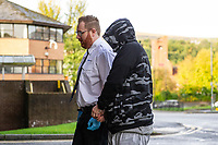 Pictured: Brian Manship, arrives at Merthyr Tydfil Magistrates Court in Merthyr Tydfil, Wales, UK. Wednesday 09 October 2019<br /> Re: Brian Manship, 37 has appeared before Magistrates Court in Merthyr Tydfil, charged with the murder of Sarah Hassall, a mother-of-two.<br /> Police had been investigating the murder of the 38 year old woman, after detectives were called to Llys Graig Y Wion, Pontypridd.