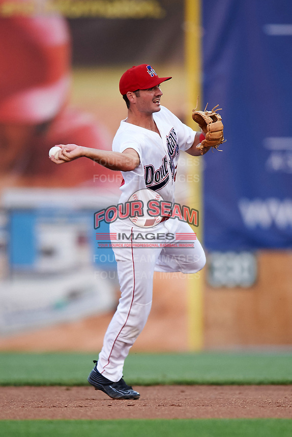 Auburn Doubledays second baseman Jake Noll (12) throws to first during a game against the Vermont Lake Monsters on July 12, 2016 at Falcon Park in Auburn, New York.  Auburn defeated Vermont 3-1.  (Mike Janes/Four Seam Images)