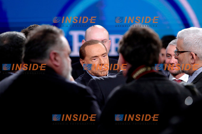 Silvio Berlusconi<br /> Roma 11/01/2018. Trasmissione tv Rai 'Porta a Porta'.<br /> Rome January 11th 2018. Silvio Berlusconi appears as a guest on the talk show 'Porta a Porta' in Rome<br /> Foto Samantha Zucchi Insidefoto