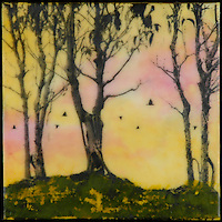 Mixed media painting with encaustic and photography of trees and crows in yellows and pinks.
