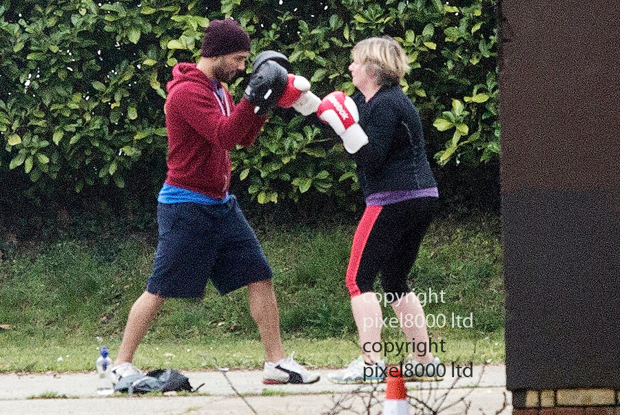pics show:  April 2014 - Victoria Wood on workout with personal trainer in a park near her North London home ahead of a tour.<br /> <br /> Comedian dead after short illness<br /> <br /> <br /> <br /> picture by Gavin Rodgers/ Pixel8000