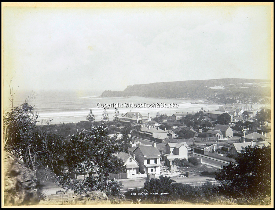 BNPS.co.uk (01202 558833)<br /> Pic: Nosbüsch&Stucke/BNPS<br /> <br /> Manly, New South Wales.<br /> <br /> A stunning collection of photographs of Sydney decades before the iconic harbour bridge and opera house were built has been unearthed after 129 years.<br /> <br /> The black and white photo album captures the bustling city centre, picturesque main harbour and famous beaches of the future tourist hot-spot. <br /> <br /> The photos were taken by celebrated Australian photographer Henry King in 1888 who was born in England but emigrated to Australia at a young age and spent the rest of his life there.<br /> <br /> More recently they have fallen into the hands of a German collector who has decided to put them on the market and they are tipped to sell for £1,800.<br /> <br /> Many of Sydney's most recognisable landmarks including Manly beach and Coogee bay look very different to what backpackers would encounter today.<br /> <br /> King also took various photos of Circular Quay - the city's main harbour - but missing from them are images of the Sydney Harbour Bridge and Sydney Opera House as these landmarks were both not built until well into the 20th century.