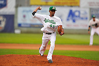 Edwin Diaz #45 of the Clinton LumberKings pitches against the Kane County Cougars at Ashford University Field on July 5, 2014 in Clinton, Iowa. The Cougars won 4-0.   (Dennis Hubbard/Four Seam Images)