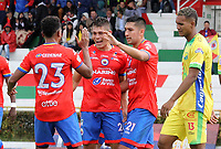 IPIALES - COLOMBIA, 20-08-2019: Nicolas Roa del Pasto celebra después de anotar el tercer gol de su equipo partido por la fecha 6 de la Liga Águila II 2019 entre Deportivo Pasto y Atlético Huila jugado en el estadio Estadio Municipal de Ipiales. / Nicolas Roa of Pasto celebrates after scoring the fourth goal of his team during match for the date 6 as part of Aguila League II 2019 between Deportivo Pasto and Atletico Huila played at Municipal stadium of Ipiales. Photo: VizzorImage / Leonardo Castro / Cont