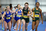 BROOKINGS, SD - FEBRUARY 25:  Morgan Milbrath from North Dakota State University takes the baton during the women's 4x400 meter run at the 2017 Summit League Indoor Track and Field Championship Saturday afternoon in Brookings, SD. (Photo by Dave Eggen/Inertia)