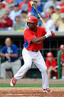 Philadelphia Phillies shortstop Jimmy Rollins #11 during a Spring Training game against the Boston Red Sox at Bright House Field on March 24, 2013 in Clearwater, Florida.  Boston defeated Philadelphia 7-6.  (Mike Janes/Four Seam Images)