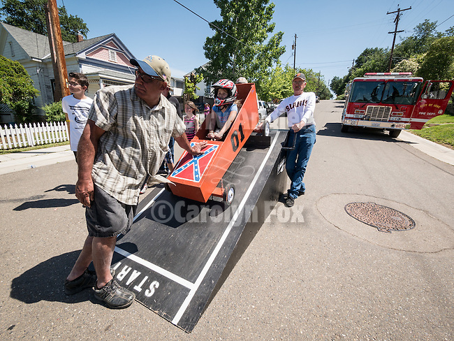 A Viking Picnic, theme for the 138th annual Ione Homecoming Parade and celebration, Main Street and Howard Park, Ione, Calif. Soap box derby down Main St. hill
