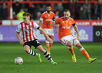 Exeter City's Archie Collins under pressure from Blackpool's Ryan McLaughlin<br /> <br /> Photographer Kevin Barnes/CameraSport<br /> <br /> Emirates FA Cup First Round - Exeter City v Blackpool - Saturday 10th November 2018 - St James Park - Exeter<br />  <br /> World Copyright &copy; 2018 CameraSport. All rights reserved. 43 Linden Ave. Countesthorpe. Leicester. England. LE8 5PG - Tel: +44 (0) 116 277 4147 - admin@camerasport.com - www.camerasport.com