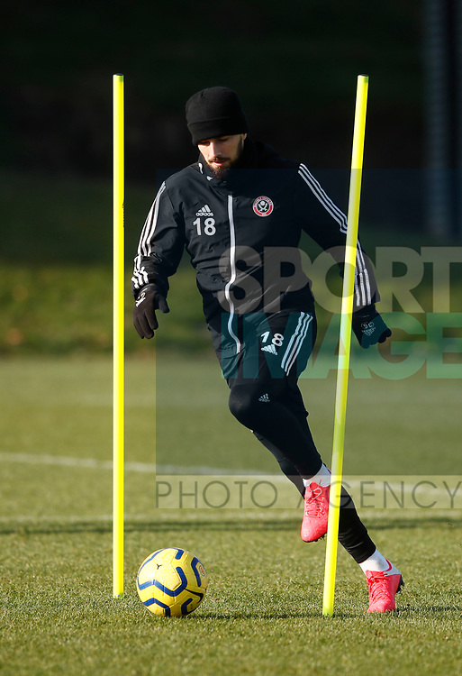 Kieron Freeman of Sheffield Utd during the Press Conference & Training at the Steelphalt Academy, Sheffield. Picture date: 7th February 2020. Picture credit should read: Simon Bellis/Sportimage