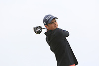 Zak Karkaletsos (ENG) on the 1st tee during Round 1of the Flogas Irish Amateur Open Championship 2019 at the Co.Sligo Golf Club, Rosses Point, Sligo, Ireland. 16/05/19<br /> <br /> Picture: Thos Caffrey / Golffile<br /> <br /> All photos usage must carry mandatory copyright credit (© Golffile | Thos Caffrey)