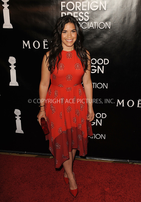 WWW.ACEPIXS.COM<br /> <br /> August 13 2015, New York City<br /> <br /> America Ferrera arriving at the HFPA Annual Grants Banquet at the Beverly Wilshire Four Seasons Hotel on August 13, 2015 in Beverly Hills, California.<br /> <br /> <br /> By Line: Peter West/ACE Pictures<br /> <br /> <br /> ACE Pictures, Inc.<br /> tel: 646 769 0430<br /> Email: info@acepixs.com<br /> www.acepixs.com