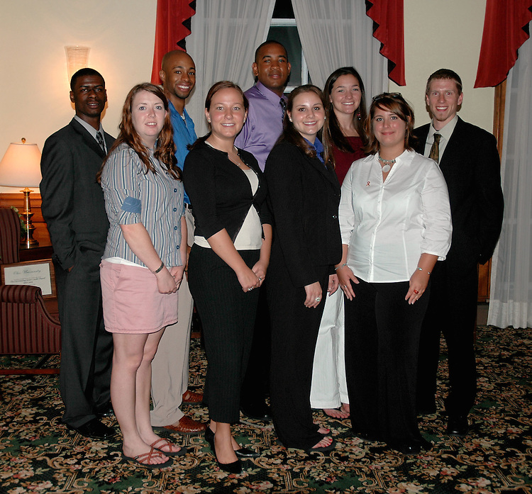17705Student Leadership Recognition awards Ceremony at Baker Center: Photos Rebecca Grosenbaugh..Pepsi Leadership Scholarsfront row left to right: Amelia Hogan, Kristin Trace, Gretchen Cataline, Katie Gehlfuss.back row left to right: DeAndre Christian, Micah Mitchell, Walt Williamson, Molly McKenney, Dale Albanese