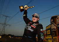Jul. 1, 2012; Joliet, IL, USA: NHRA pro stock driver Erica Enders celebrates after winning her first career race at the Route 66 Nationals at Route 66 Raceway. Mandatory Credit: Mark J. Rebilas-
